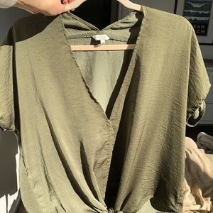 Lucky Brand Olive Green V Neck, Tie Bottom Blouse